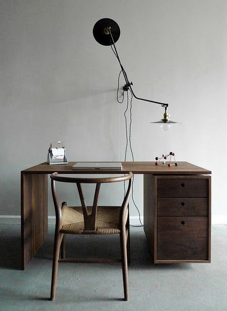 Nice faded light blue/gray/white contrasting with the wooden desk and delicate curves of the chair. From the blog, French by Design. http://frenchbydesign.blogspot.com/
