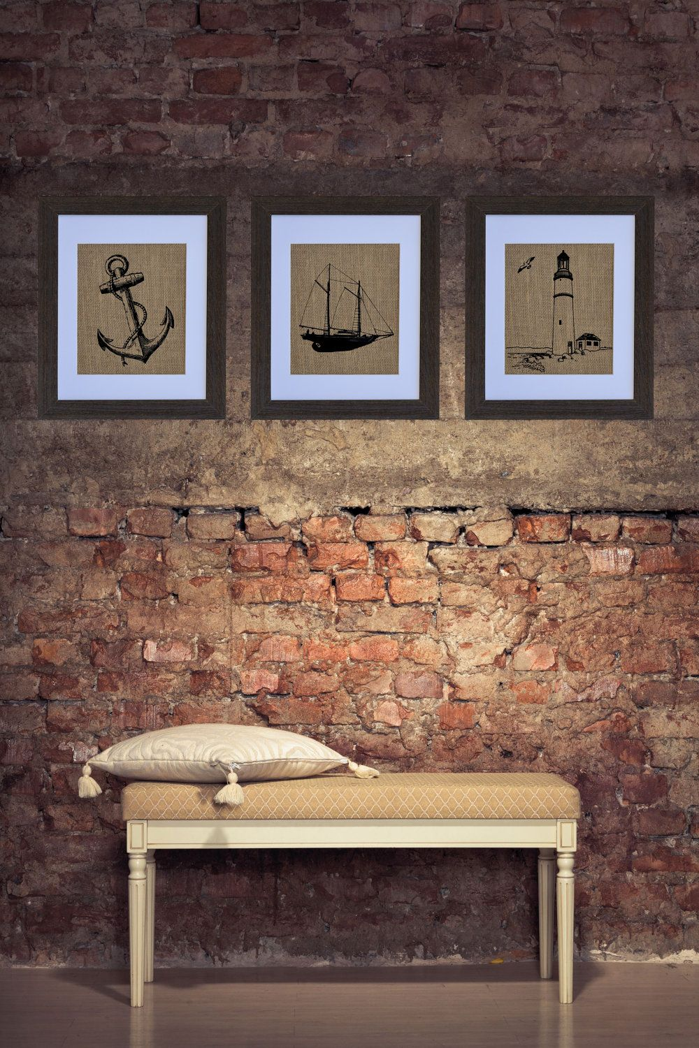 The nautical three lighthouse anchor schooner wall art wall decor frame included Home goods decor pinterest