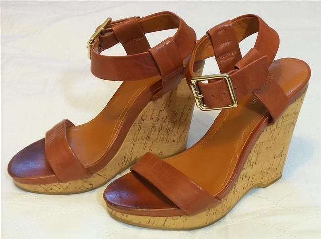 Calvin Klein Nikole Brown Wedge Platform High Heel Shoes Sz 6.5 #CalvinKlein #PlatformsWedges #Casual