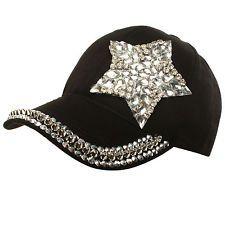 Bling Rhinestone Baseball Cap Ballcap Hat Studded Front Tennis Woman Black New