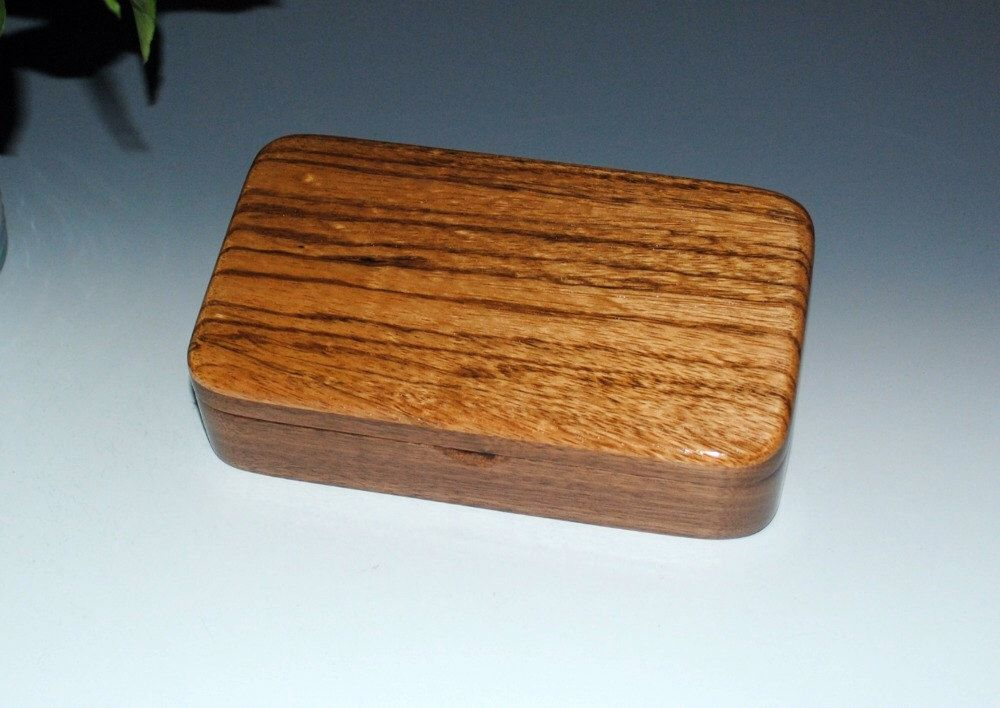 Wood Box Oyster Box Zebrawood on Walnut Small Jewelry Box