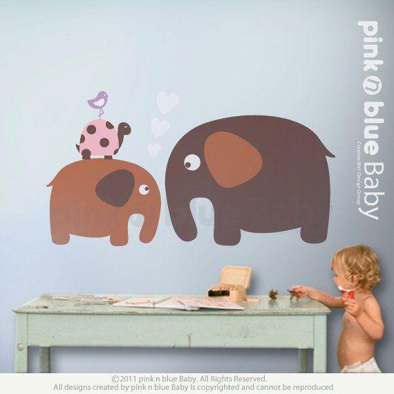 Baby Elephant Friends Nursery Kids Removable Wall Decal Etsy Vinyl Wall Decals Removable Wall Decals Vinyl Decals