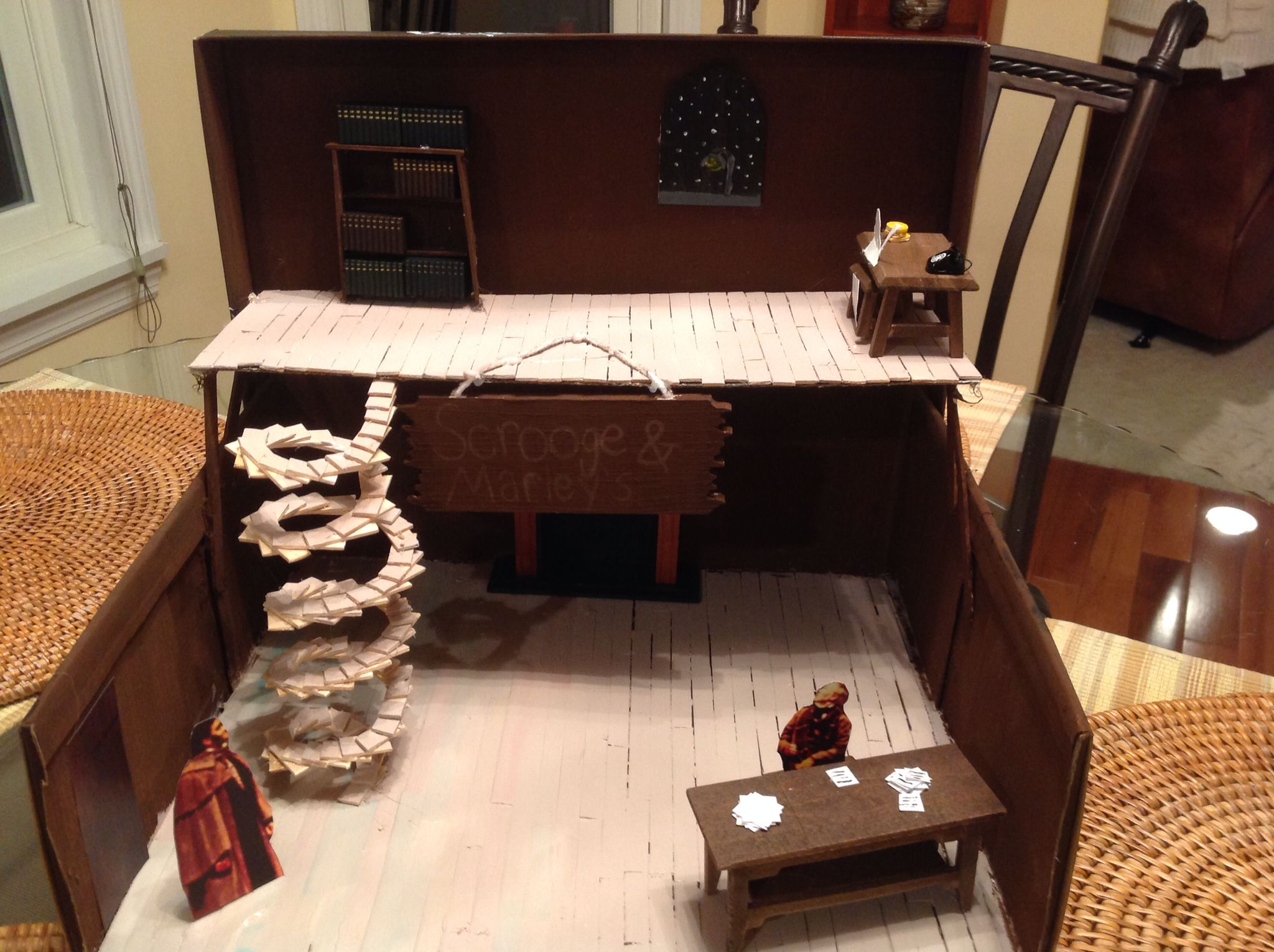 "My daughters shoe box diorama for the play ""a Christmas Carol"""