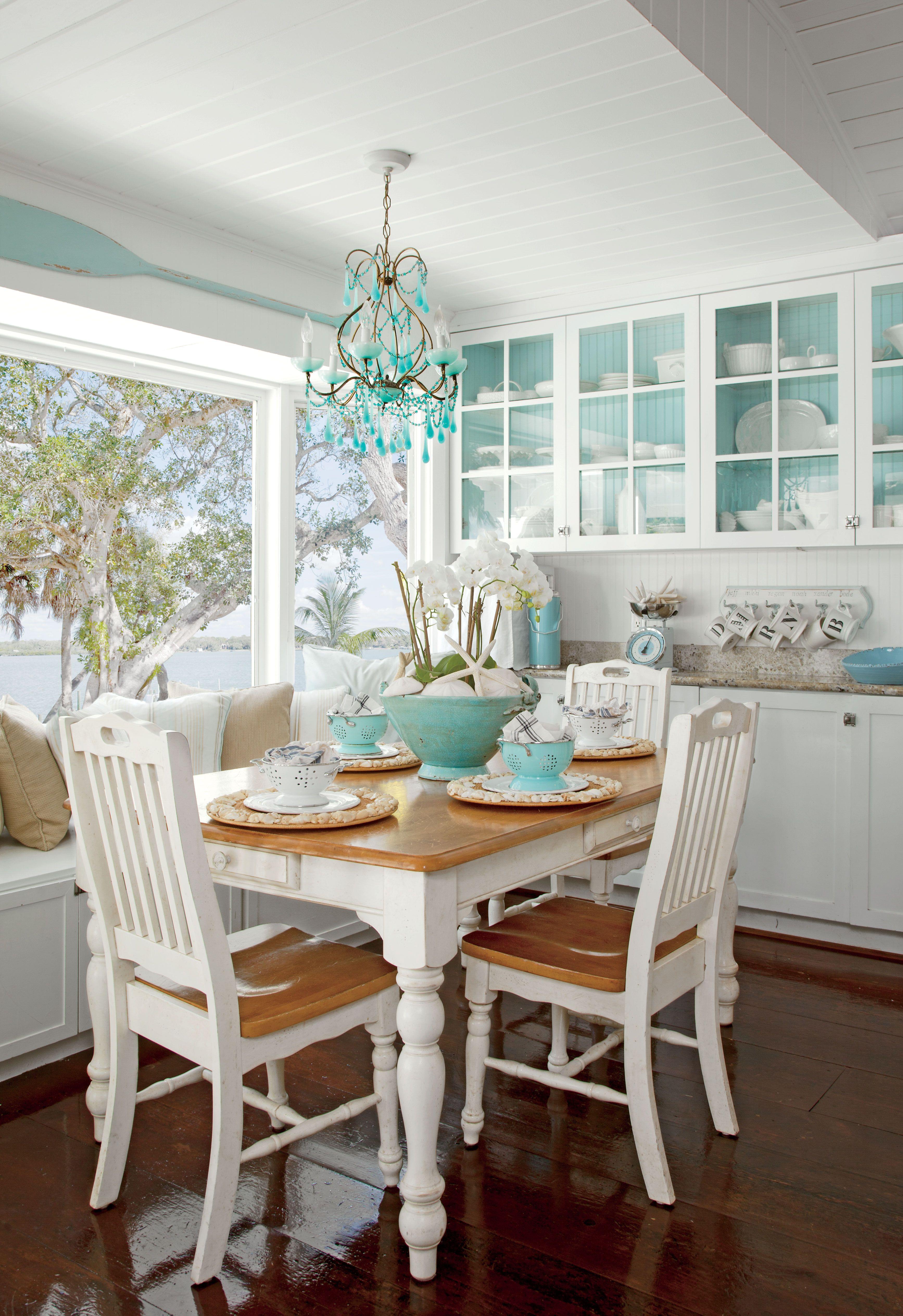 White dining room Coastal dining room, Coastal living