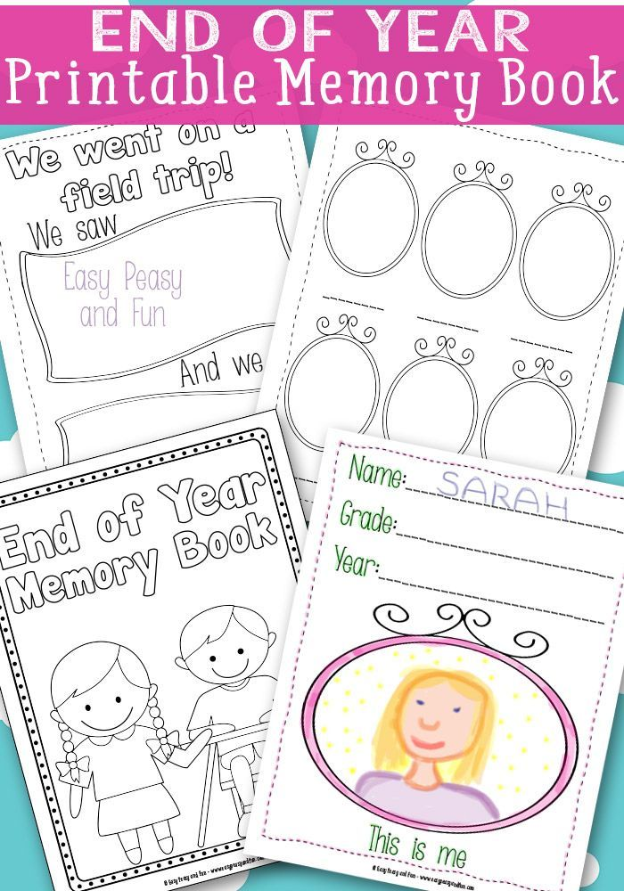 End Of Year Memory Book : memory, Memory, {Free, Printable}, School, Memories,, Kindergarten,, Books