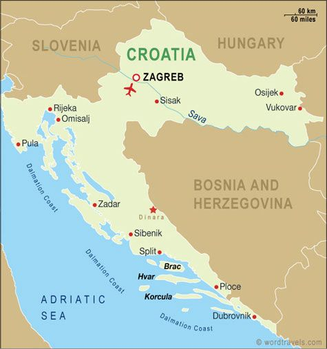 Croatia Map Croatia Travel Maps From Word Travels Croatia Map Croatia Croatia Travel