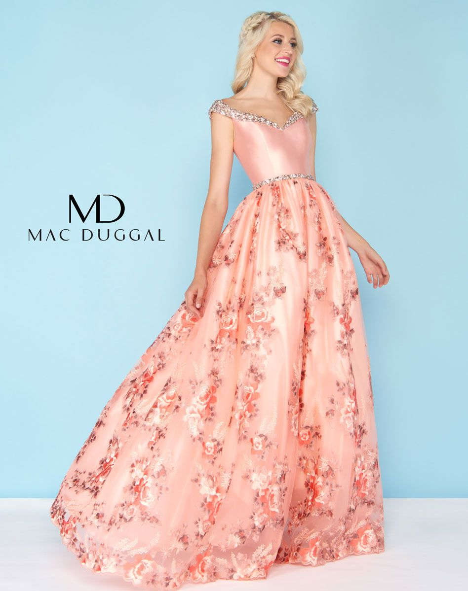 Portrait Collar peach ball gown embellished with beading throughout ...