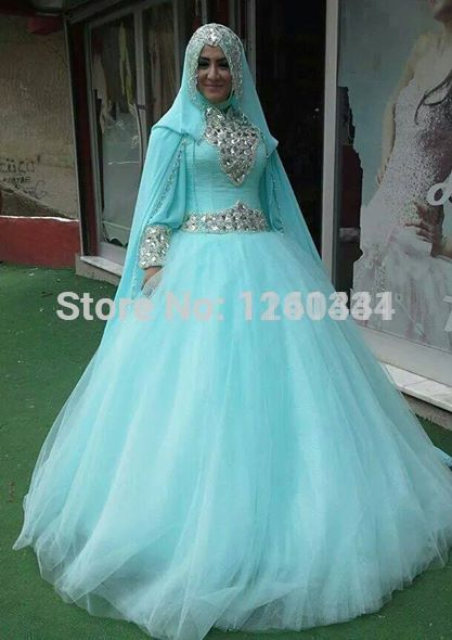 Aliexpress.com : Buy 389322 blue islamic wedding dresses hijab ...