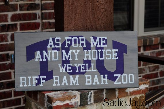 11in. by 24in. TCU wood sign As for me and my by SadieJayDesigns