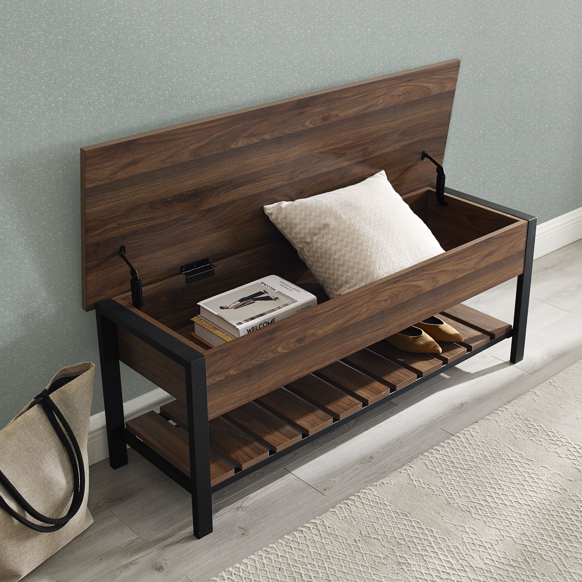 Manor Park Modern Farmhouse Storage Bench with Shoe Shelf