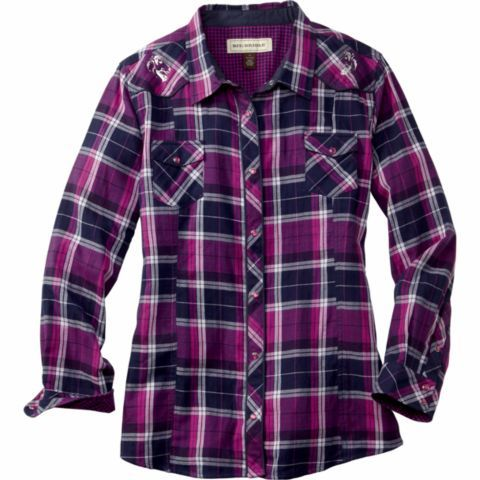 Bit & Bridle™ Ladies' Long-Sleeve Embroidered Yoke Flannel Western Shirt -  Tractor