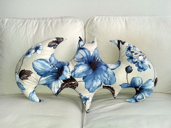 Handmade Flowered BATMAN Pillow • 100% cotton • Decorative pillow • Throw pillow • Accent pillow • Flowers pillow •Batman cushion