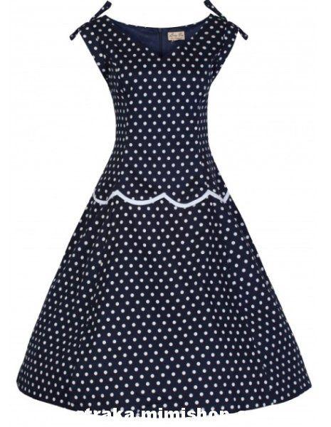 a623aed9b273 Retro šaty ve stylu 50. let. nádherné šaty v modré barvě s nadčasovým  puntíkem