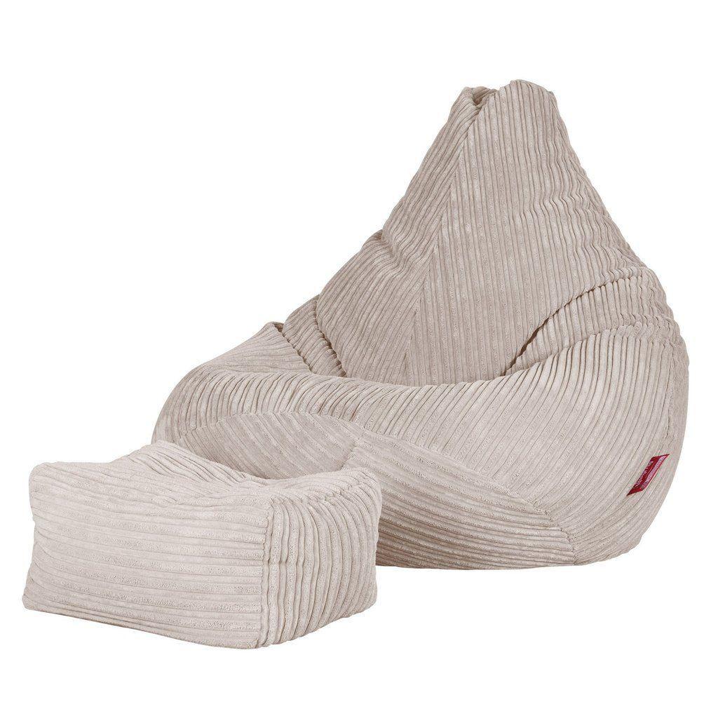 Sitzsack mit hoher Rückenlehne Cord Ivory in 2020 Bean