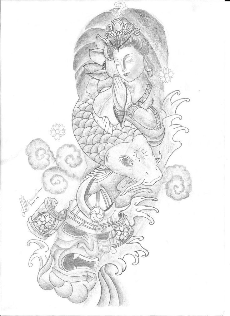 Color Sleeve Tattoos For Men Japanese Koi