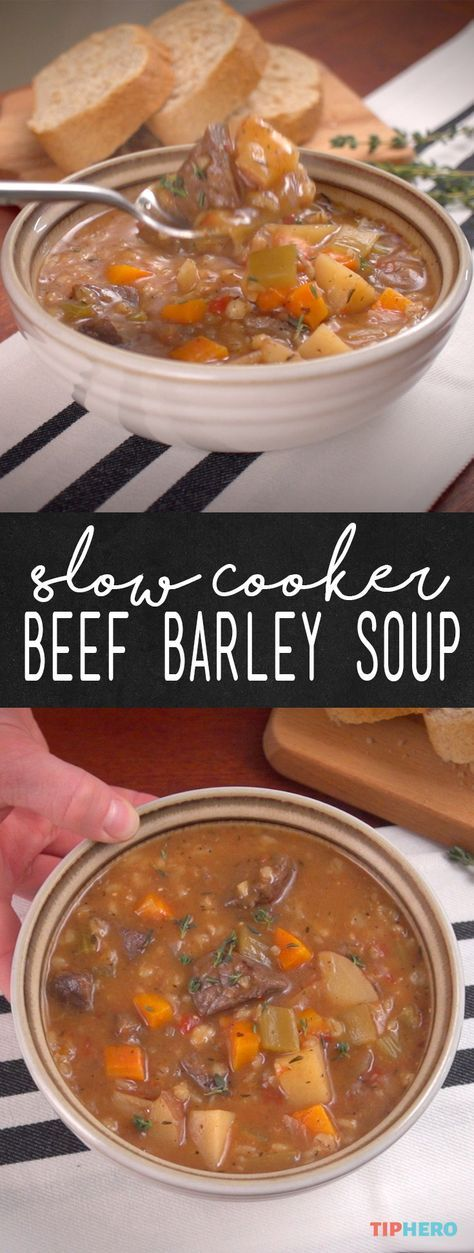 Crock Pot Beef Barley Soup Recipe | If you've never cooked with barley before, you're going to love it. The healthy grain is super-versatile, with a pasta-like consistency and rich flavor similar to nuts. Add to that beef, Yukon Gold potatoes, carrots, onion, celery and garlic and you've got a meal that's perfect for the whole family!Click to watch how it comes together and give it a try!