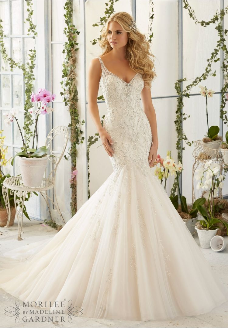 Wedding dress featuring intricate crystal beaded for Mori lee ivory wedding dress