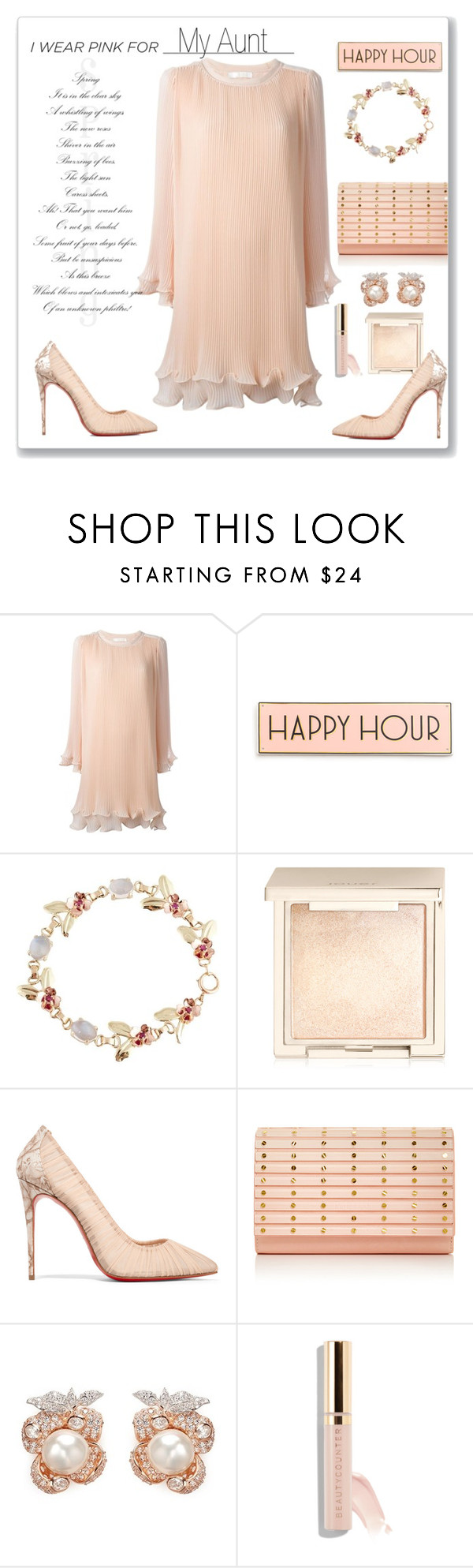 """I Wear Pink For..."" by faten-m-h ❤ liked on Polyvore featuring Chloé, Rosanna, Tiffany & Co., Jouer, Christian Louboutin, Elie Saab, Anabela Chan, Beautycounter and IWearPinkFor"