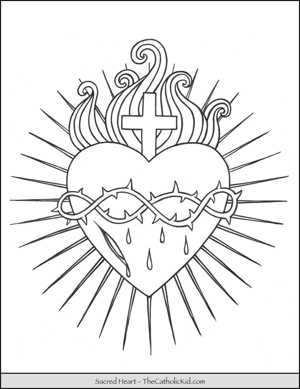 Sacred Heart Coloring Page Thecatholickid Com Heart Coloring Pages Sacred Heart Art Sacred Heart Tattoos