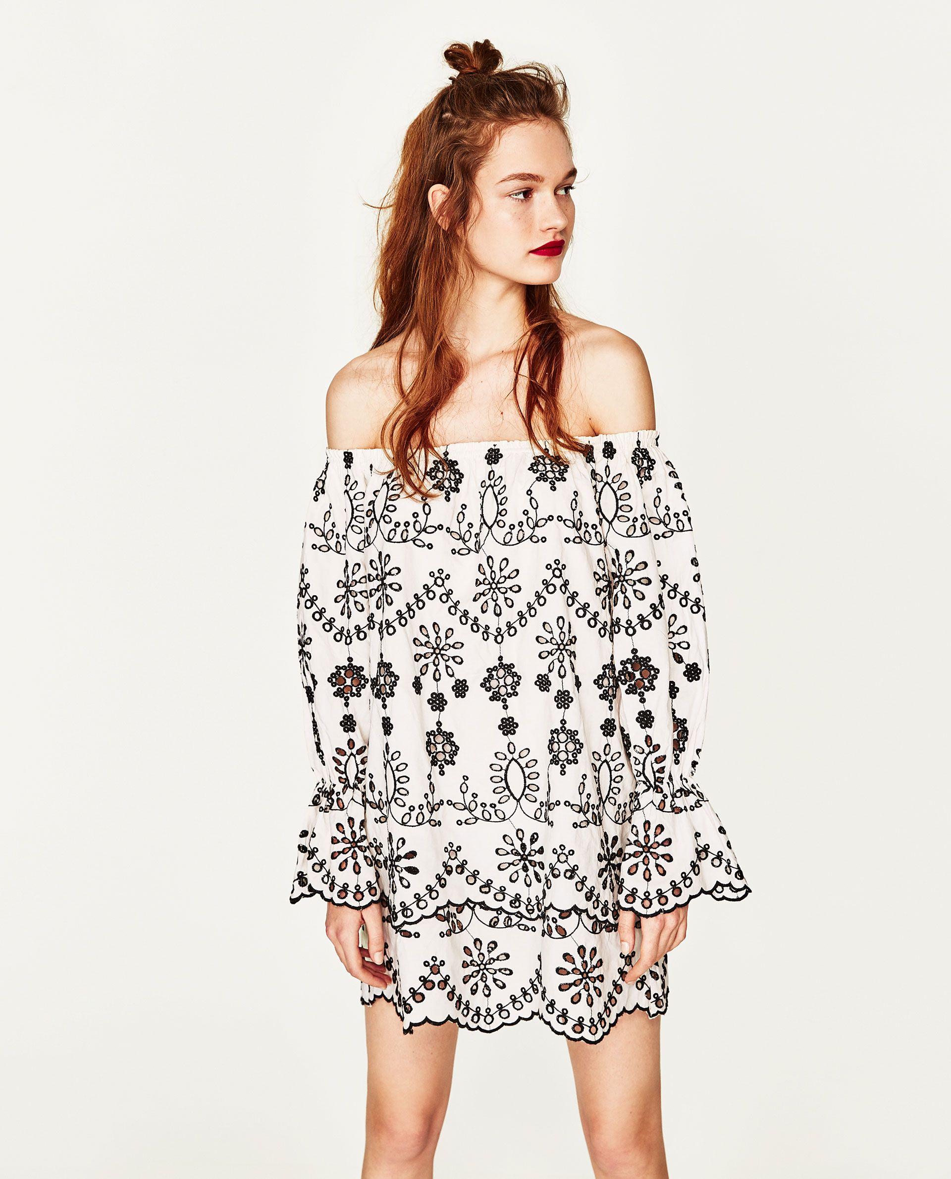 aab9508c Image 2 of SHORT DRESS WITH SCHIFFLI EMBROIDERY from Zara | WishList ...