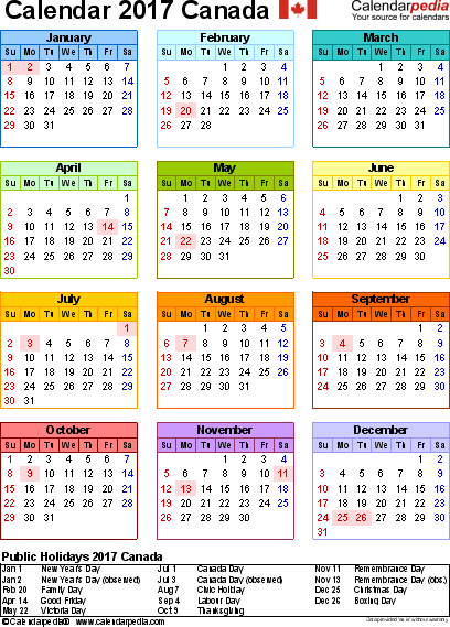 Template   Calendar Canada For Pdf Year At A Glance