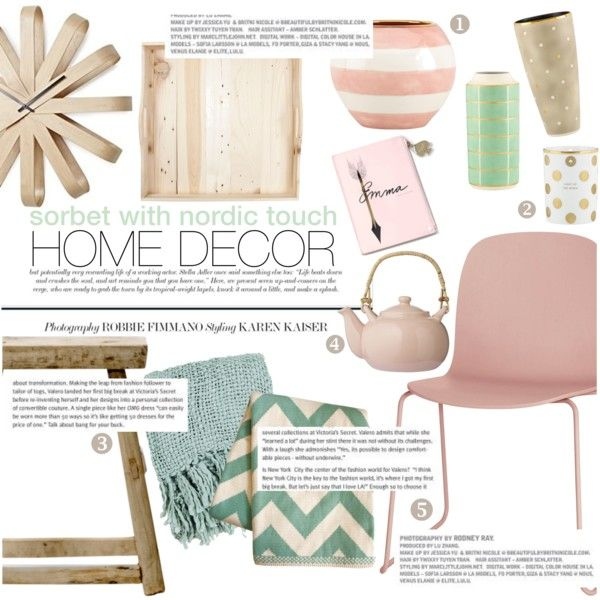 sorbet with nordic touch home decor by punnky-interiors on Polyvore featuring interior, interiors, interior design, дом, home decor, interior decorating, Muuto, Surya, Zara Home and Bloomingville