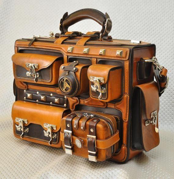 Photo of Leather briefcase. Leather handmade bag. Handbag. Leather case. Luggage. Large. Suitcase.