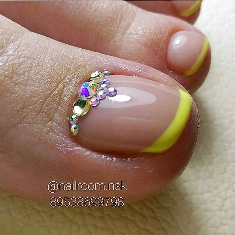 Yellow Nail Polish Toenails: Yellow French - Rhinestone TOE Nail Art