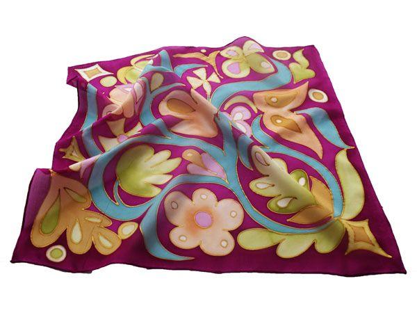 Egyedi, kézzel festett selyem kendők, sálak hölgyeknek. Évzáróra, ballagásra ideális ajándék ötlet tanároknak, óvónéniknek, dadusoknak.