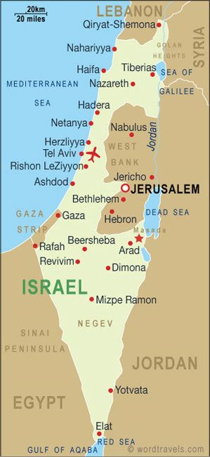 Israelmap  Israel Jerusalem and Middle east