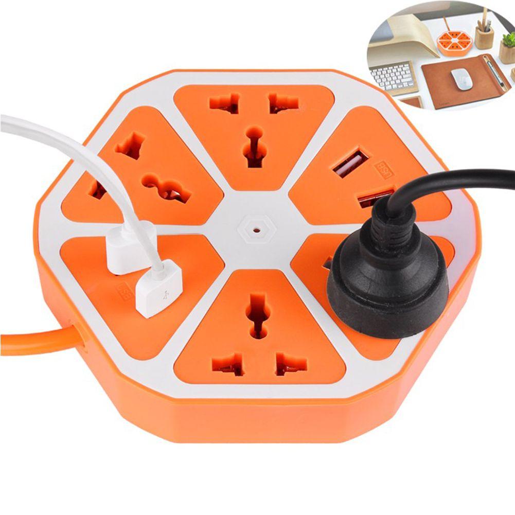 49% 오프 PowerCube 소켓 EU 플러그 4 아울렛 + 4 USB 포트 어댑터 전원 스트립 1.7 메터 케이블 확장 멀티 홈 전환