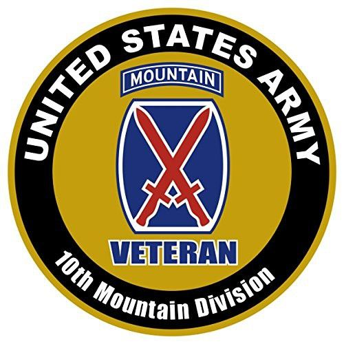 1 Set Glistening Modern Us Army Veteran 10th Mountain Division Sticker Sign Windows Outdoor Car Decal Size 4 X 4 Military Mom Fort Drum Army
