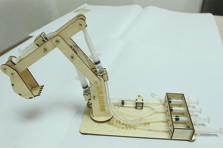 Wood Hydraulic Arm : Laser cut hydraulic toy cutting wood model