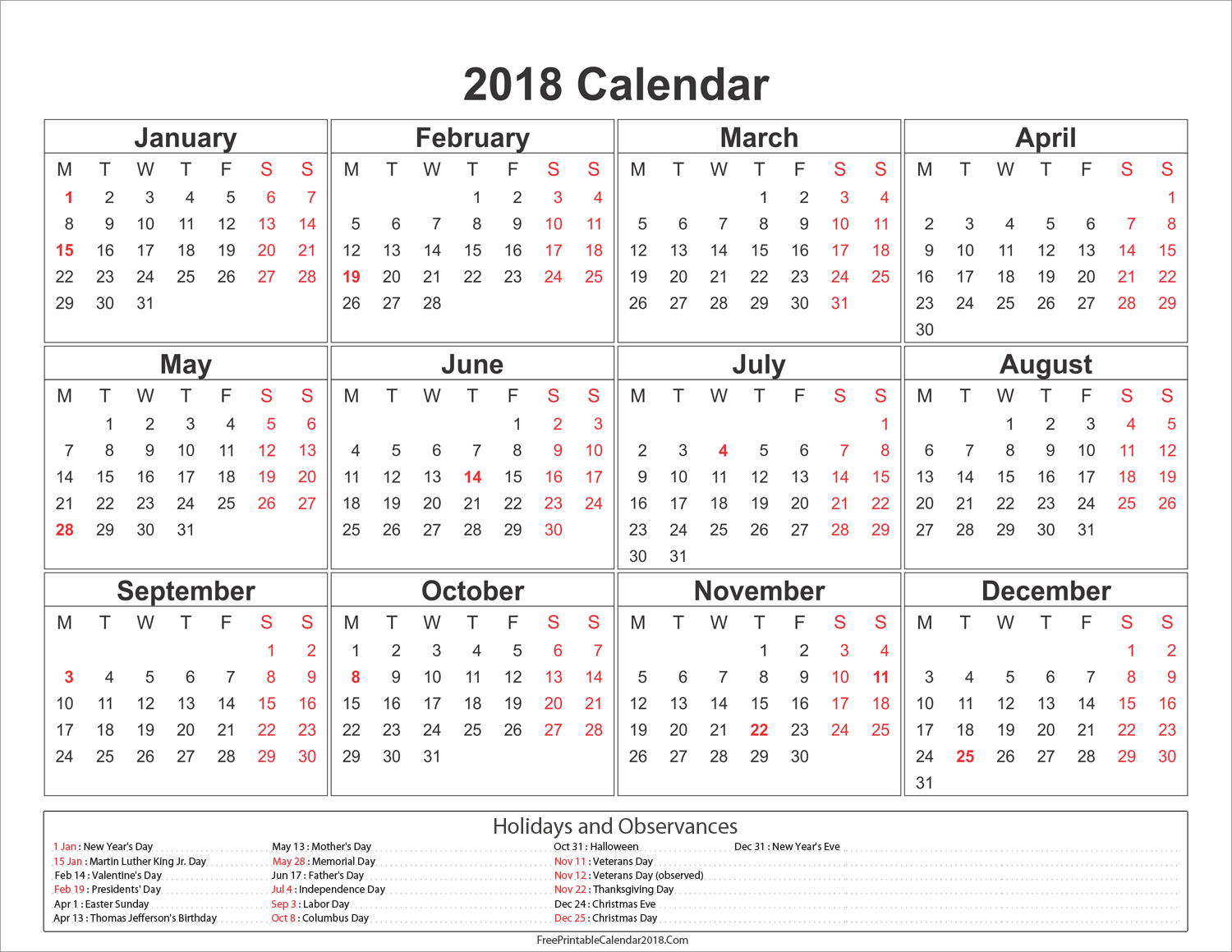 January 2018 Calendar Horizontal. . #January 2018 Calendar