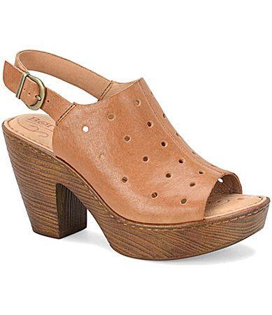 2372136c192fe7 Born Galoa Leather Cutout Peep Toe Slingback Sandals  Dillards ...