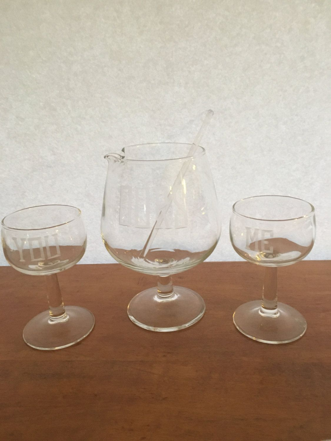 Vintage cocktail bar set  Ours you  me by HollyWouldFind on Etsy