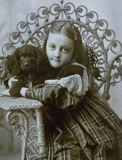 :::::::::: Antique Photograph :::::::::: Adorable girl in plaid dress with her equally adorable puppy.