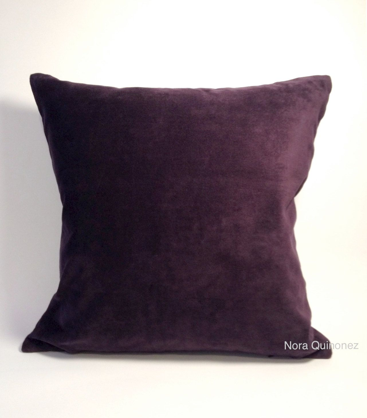 Eggplant Purple Decorative Pillow Cover Medium Weight Cotton Velvet Invisible Zipper Closure