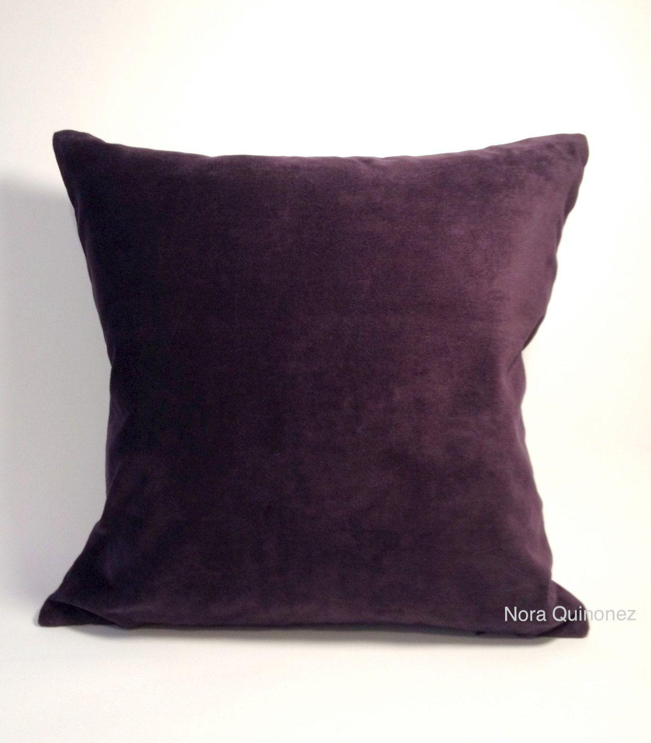 Eggplant Purple Decorative Pillow Cover Medium Weight Cotton Velvet Invisible Zipper Closure