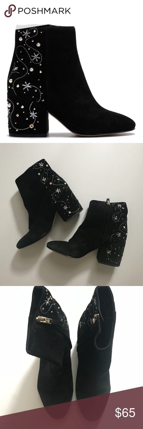 af1d5fdbdc7ccc Sam Edelman Taft Embroidered Stud Black Boot Faux pearls stud the  embroidered back panel of a