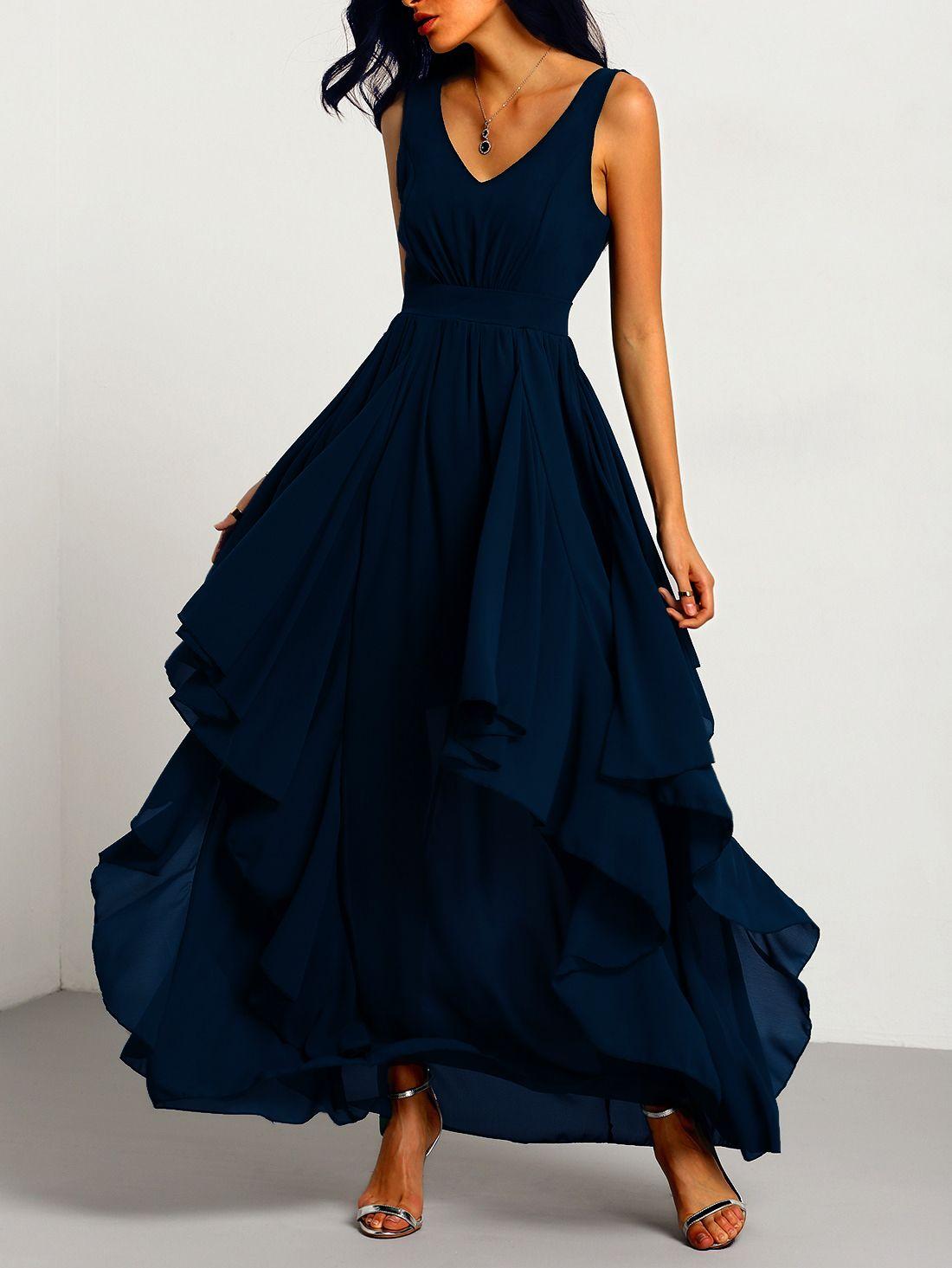 042fa7b0d4 Shop Navy Deep V Neck Layered Chiffon Dress online. SheIn offers Navy Deep  V Neck Layered Chiffon Dress & more to fit your fashionable needs.