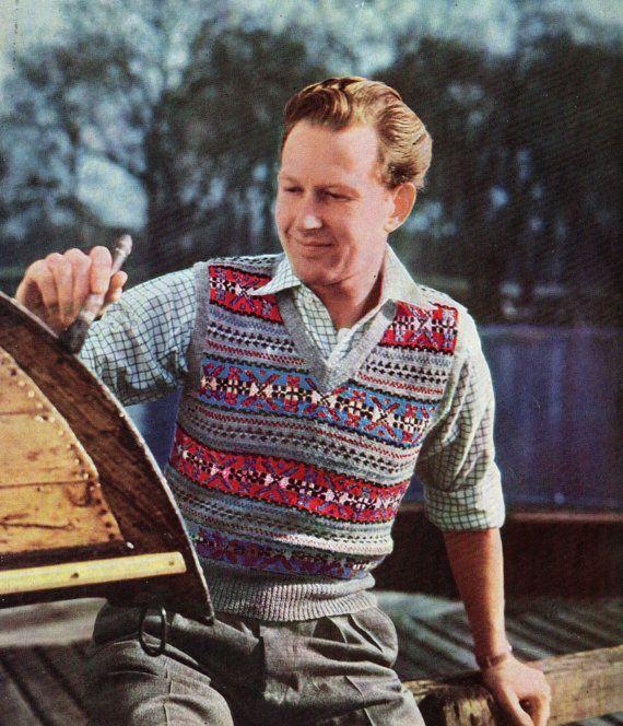 Mens Fair Isle Sleeveless Slip-over Sweater 1950s Vintage Knitting ...
