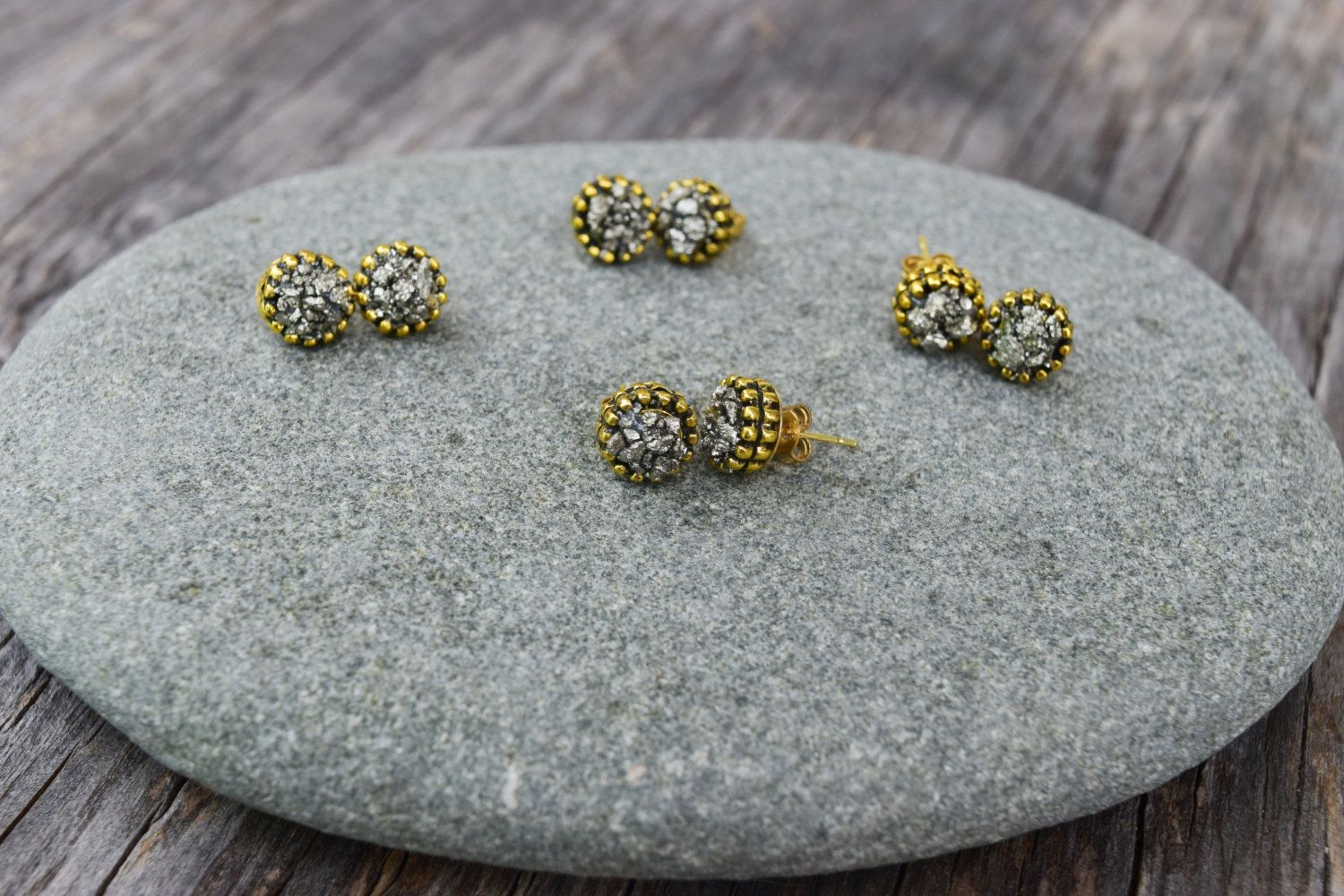 Pyrite Stud Earrings Pyrite Chips Post Earrings by HalfMoonFusion