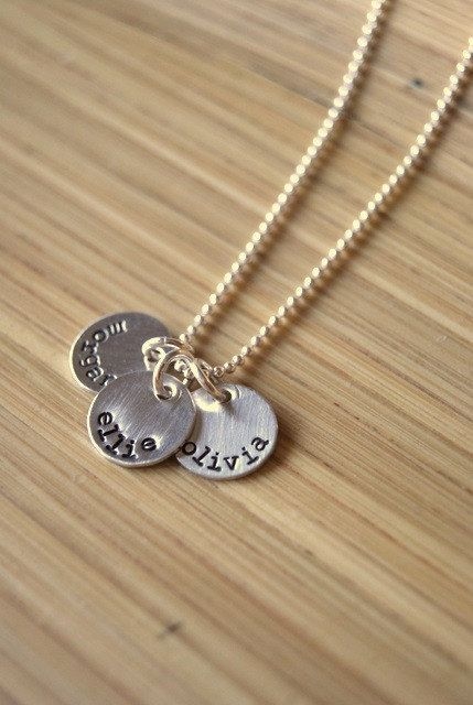 Mommy Necklace Personalized Kids Names Hand Stamped Mom of Two Custom Valentines