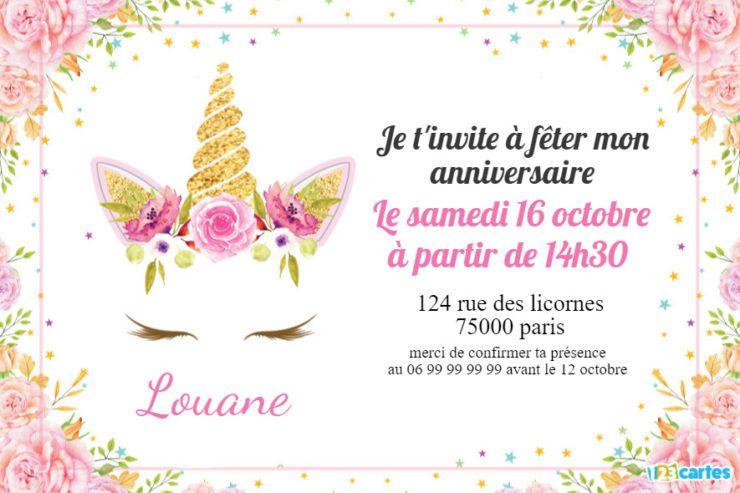 d invitation anniversaire fille licorne
