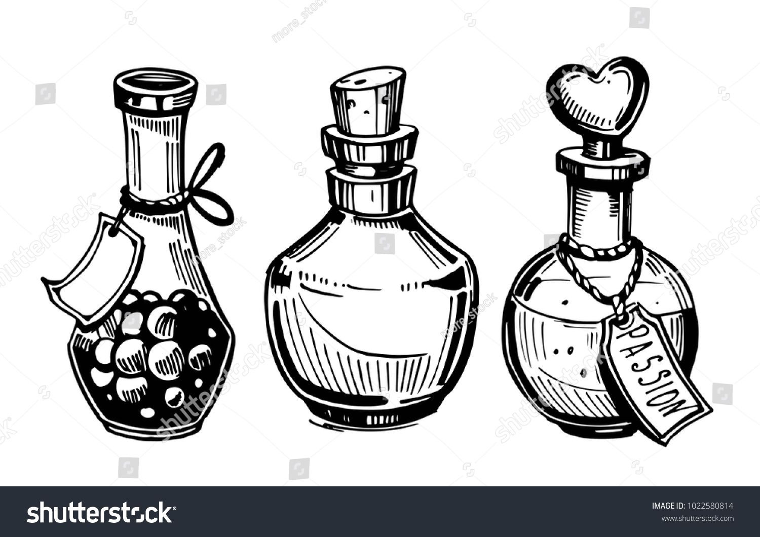 buy popular a417f ab287 Bottles with potions. Poison and love potion. Hand drawn ...