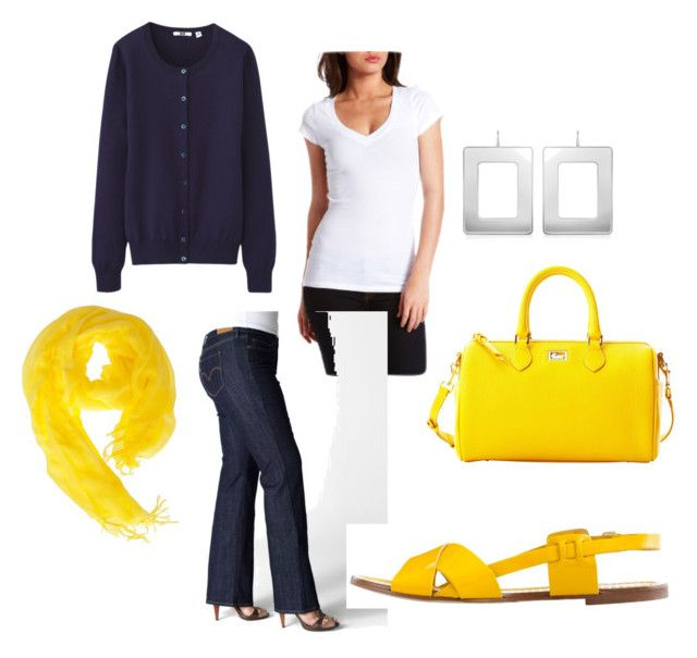 """""""I love bold yellow"""" by bethgholmes ❤ liked on Polyvore featuring Uniqlo, Love Quotes Scarves, Levi's, J.Crew, Dooney & Bourke, Mita Marina Milano, casual, yellow, dyt and type4"""