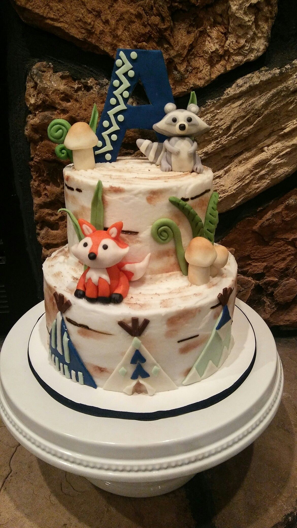 Woodland rustic baby shower cake Woodland critters made from