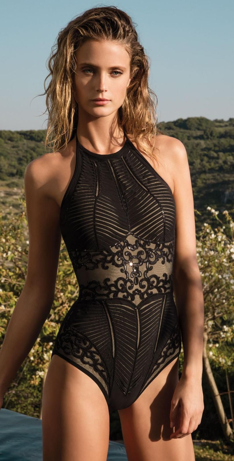 b9d5cf49dc678 Gottex Jewel Box Collection Dusk Onyx Laser Cut Swimsuits Front Black one  piece