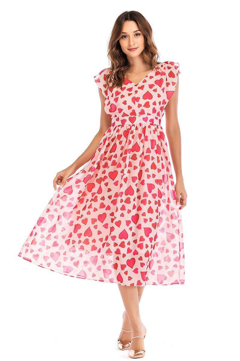 Chicways Women Vintage Summer Dress Sweet Heart Print V Neck Chiff Summer Dresses Sweet Dress Vintage Summer Dresses [ 1200 x 800 Pixel ]